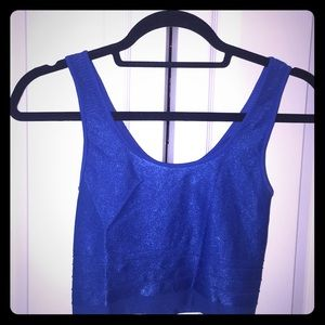 True blue stretchy crop tank